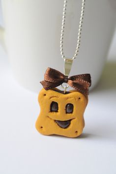 "Gourmet necklace ""choco BN *"" in fimo: necklace by the-sweetmeats-damelie - Polymer Clay Kunst, Fimo Clay, Polymer Clay Projects, Polymer Clay Charms, Polymer Clay Jewelry, Fimo Kawaii, Polymer Clay Kawaii, Crea Fimo, Biscuit"