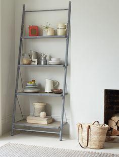 Please Visit 41 Stunning Living Room Ladder Shelf Post to Read Full Article. House Shelves, Living Room Shelves, Small Living Rooms, Home Living Room, Ladder Shelves, Shelving, Corner Furniture, Shelf Furniture, Furniture Design