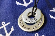 """Anchored In Love""  Metal Stamped Necklace   - Customized with your initials!  From Dana Elyse on Etsy"
