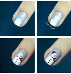 How-to make snowman nails Autumn Nails, Winter Nail Art, Winter Nails, Nail Manicure, Diy Nails, Cute Nails, Diy Christmas Nail Art, Holiday Nails, Xmas Nails