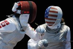 """Our Olympic fencing masks. Pretty much a """"Suck it, we're American"""" to the rest of the world haha"""