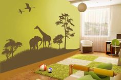 A wall to wall decal can bring a room to life. This safari scene comes in a whopping 34 colourways but we love the lime green and brown which is co-ordinated with similarly hued soft furnishings.
