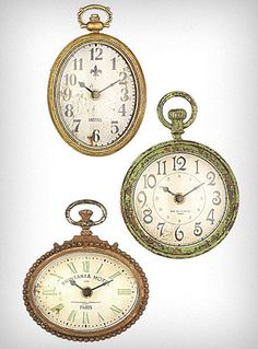 Vintage Timekeeper Clock Magnets  Inspired by Alice's White Rabbit these pocket-watch shaped oversized magnets are sure to add unique antique charm to any room. Not just for looks, these pieces are fully functional working clocks with !   $26.00