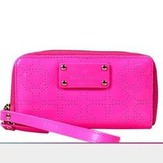 Kate Spade Wristlet•HP• Kate Spade New York  Jazzy Wristlet/Wallet  WLRU1446 Metro spade  Pinksaphre New with tag (got caught in zipper tied on)  No cards  Retail $158 Gold duel zip around  Back slip pocket  4 inside slide pockets  Open center  Cream leather interior  Hot pink heart exterior  Wristlet strap  Length 6.5' Width 1' Height 3.5' kate spade Bags Clutches & Wristlets