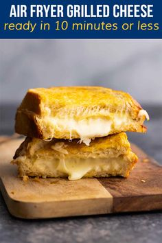 Crisp, buttery, and oozing with cheese, this air fryer grilled cheese is a real crowd pleaser! You seriously can't beat the crunch. Best Lunch Recipes, Amazing Recipes, Favorite Recipes, Slow Cooker Recipes, Beef Recipes, Making Grilled Cheese, Vegetarian Meal Prep, Work Lunches, Meal Prep Bowls