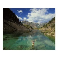 Young Man Fly-fishing on Lower Silver Springs Lake Poster:  Henry Georgi / All Canada Photos/Corbis / Young Man Fly-fishing on Lower Silver Springs Lake in the Elk Valley Near Fernie, British Columbia, Canada. #flyfishing #britishcolumbia #canada #poster