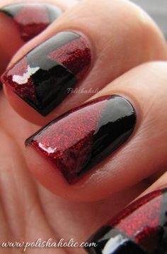 Black and red glitter tape manicure