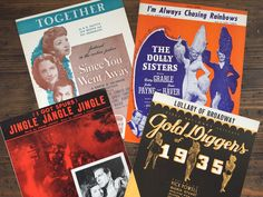 Hollywood movie sheet music set  1930's | 1940's  vintage piano sheet music  set of 4