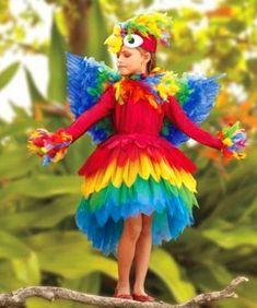 Parrot Costume- Halloween Goals for the girls. Up Costumes, Halloween Costumes For Girls, Halloween Kids, Dance Costumes, Halloween Candy, Kids Costumes Girls, Animal Costumes For Kids, Partner Costumes, Bird Costume Kids