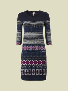 This fabulous fitted dress is great for office to evening wear. It has three-quarter length sleeves with a Fairisle print and ribbed details.