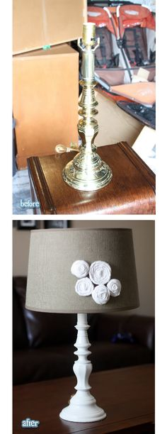 Brass Lamp Makeover    #diy #beforeafter Get a pink, black or white lamp shade and add zebra bows onto it