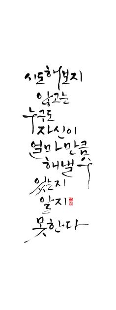 calligraphy_ 시도해보지 않고는 누구도 자신이 얼마만큼 해낼수 있는지 알지 못한다. _푸블릴리우스 시루스 Wise Quotes, Words Quotes, Sayings, Korean Quotes, Creative Artwork, Caligraphy, Beautiful Words, Book Lovers, Sentences