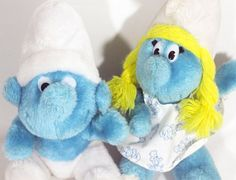 Vintage 80s Blue Small SMURF and Smurfette by RavensLoftVintage