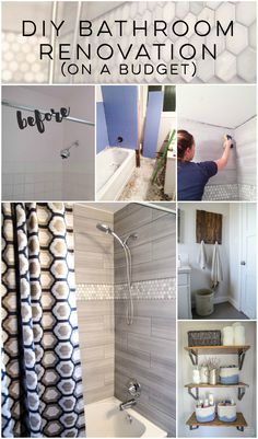 DIY Bathroom Renovation- I love that it breaks it down into stages! I've always wondered if I could renovate in phases. Everything is DIY too, from the tile to the shelf! diy home improvement A DIY Bathroom Renovation Diy Bathroom Remodel, Bathroom Renos, Diy Bathroom Decor, Bathroom Renovations, Home Renovation, Home Remodeling, Diy Home Decor, Bathroom Showers, Bathroom Makeovers