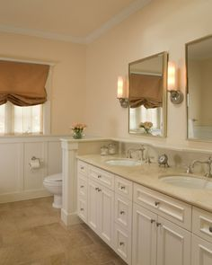 white cabinets with tan counter
