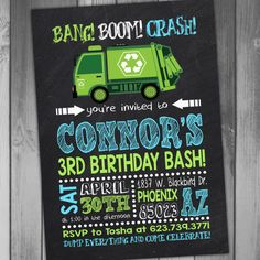 Garbage Truck Birthday Invitation Garbage Truck Invitation by CLaceyDesign | Etsy