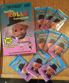 Qty of 9 Packages Plus Box Norfin Trolls Mint in Original Package 23 years Old...Trading Cards 1992