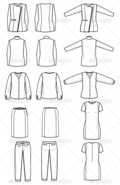 Fashion Flat Sketches for Womens Work Wear - Man-made objects Objects