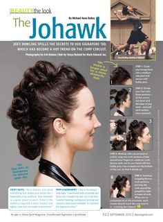 Looking for a fun twist on the classic in-store bun-making clinic? Invite local comp kids to learn how to create the Johawk! ---- I did a similar look with my friend once and it was awesome! Dance Hairstyles, Pretty Hairstyles, Wedding Hairstyles, Faux Hawk Hairstyles, Dance Competition Hair, Dance Makeup, Tribal Fusion, Hair Today, Hair Dos