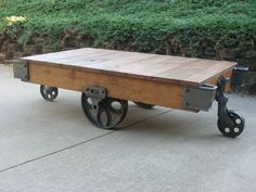 Vintage Lineberry Industrial Factory Cart