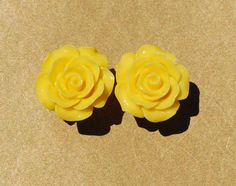 Lovely Yellow Rose Girly Plugs - 4g, 2g, 0g, 00g, 7/16""
