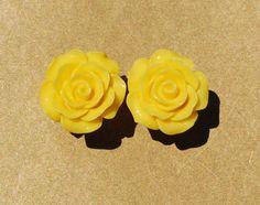 "Lovely Yellow Rose Girly Plugs - 4g, 2g, 0g, 00g, 7/16"""