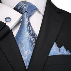 "3PC Silk Necktie Set Color: Light Blue and Gray 59"" Length, 3.25"" Width"