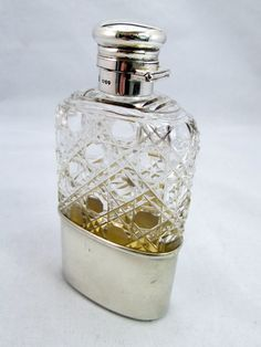 Antiques Atlas - Late 19thC Hip Flask - Silver & Hobnail Glass