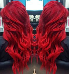 86 Red Hair Color, Cool Hair Color, Hair Colors, Top Hairstyles, Pretty Hairstyles, Bright Red Hairstyles, Hairstyle Ideas, Crimson Red Hair, Beautiful Hair Color