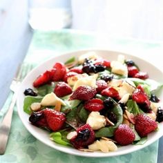 Roasted Berry and Joan of Arc Brie Spinach Salad