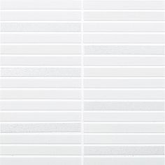 LUNGO WHITE MIX Lungo is a stunning glazed sheeted mosaic available in white and black. The standard three glaze mix has a combination of Bright, Matt and Luster glazes. Kitchen Splashback Tiles, Material Board, Tiles Texture, Creative Storage, European Destination, Textures Patterns, Blinds, Tile Floor, Japan