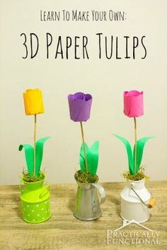 How To Make Paper Flowers: 3D Paper Tulips with your Silhouette | Practically Functional