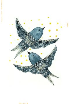 """""""Indigo Birds"""" art print. It is an open edition digital reproduction of watercolor illustration. Each print is signed and titled. Printed on a lovely smooth Archival Matte paper using Claria Photograp"""