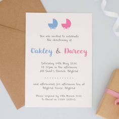 Personalised Christening Or Naming Ceremony Invitations