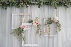 Without the letters and place them strategically for potential family use, up to One larger to fit adult holding kid. Boho Backdrop, Paper Flower Backdrop, Photo Booth Backdrop, Ceremony Backdrop, Backdrop Ideas, Wedding Stage Decorations, Engagement Decorations, Elegant Wedding, Rustic Wedding