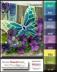 Copic Markers, Air Brushing with Copic Markers, Rhea Weigand, Mixed Media Cards, Passionate Paper Creations. Copic Markers Tutorial, Copic Sketch Markers, Butterfly Cards, Butterfly Colors, Spectrum Noir Markers, Mixed Media Cards, Paint Color Palettes, Copic Art, Color Of The Day