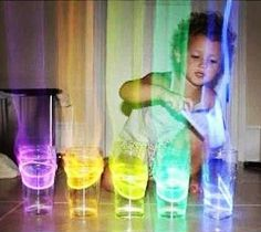 Glow stick xylophone. Put the glow sticks in cups of water and an aura comes off in the dark when you tap them