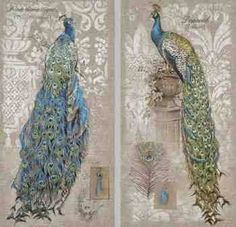 Peacock Wall Canvas, Set of 2