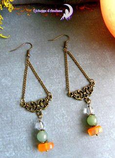 ~ Esprit d'automne ~ Boucle d'oreille bronze, cornaline, aventurine, cristal de roche