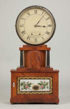 Figured mahogany case with turned columns. on Sep 2016 Mantel Clocks, Old Clocks, Antique Clocks, Clock Shop, Wall Shelves, Shelf, Joseph, Auction, Antiques
