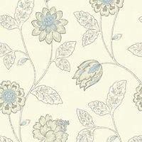 Homebase wallpaper - Gran Deco Jasmine - Duck Egg