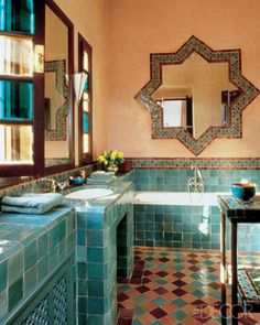 YSL home in Marrakech. image from Elle Decor bathroom decor moroccan style Moroccan Interiors. Moroccan Bathroom, Eclectic Bathroom, Bathroom Styling, Bathroom Ideas, Bathroom Designs, Bathroom Inspiration, Modern Bathroom, Moroccan Mirror, Spanish Bathroom