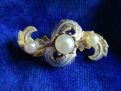 Very Pretty Damascene style Brooch with faux by VintageHub2016