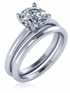 Quatra 1 Carat Round Cubic Zirconia Four Prong Solitaire with Matching Band…