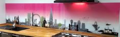 London skyline with a pink twist kitchen splashback