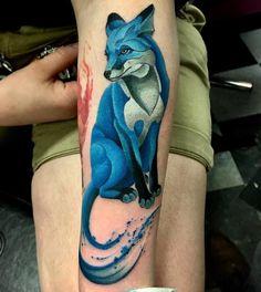 Watercolor Blue Fox Tattoo by markureart