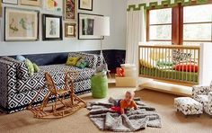 little boy's nursery...i like the concept of having a bed in the nursery for mom...