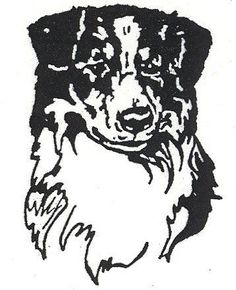 "Dog Rubber Stamps - Australian Shepherd-8E Size: 1-1/2"" W"