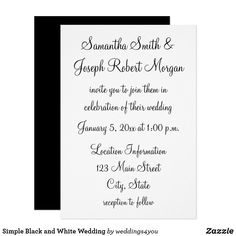 "Simple Black and White Wedding Card - 3.5"" x 5"" RSVP Invitation / Flat Card"