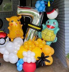 Pokemon Themed Party, Pokemon Birthday, 9th Birthday, Birthday Cards, Balloon Centerpieces, Balloon Decorations, Pokemon Balloons, Balloon Bouquet Delivery, Pikachu